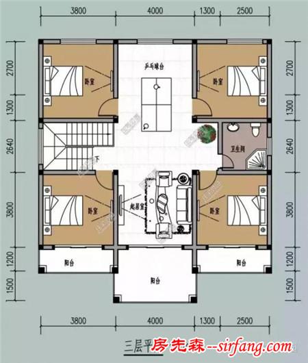 11.8x13.4米农村三层别墅,户型经典接地气(含预算)图片