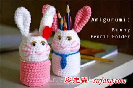 酸奶瓶废物利用做笔筒 钩针兔子笔筒手工制作