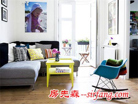 90平色彩靓丽宜家风 白色居室里开始色彩之旅