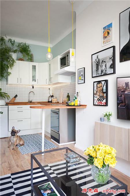 捷克45平米小公寓设计,简约美好的鲜亮生活气息