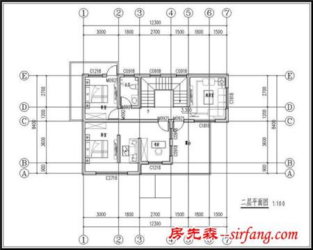 12x8米占地100平方米农村二层小别墅设计施工图纸