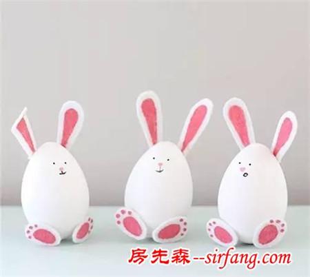 幼儿园亲子手工之废物利用,用鸡蛋壳做这么可爱的小兔子!