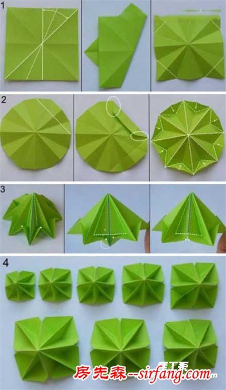 可爱的立体圣诞树折纸图解教程