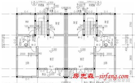 三层别墅设计图:卧室,卫生间,楼梯间,库房,露台