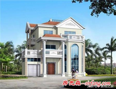 新农村三层别墅设计图 农村自建房图纸15x13含水电效果图