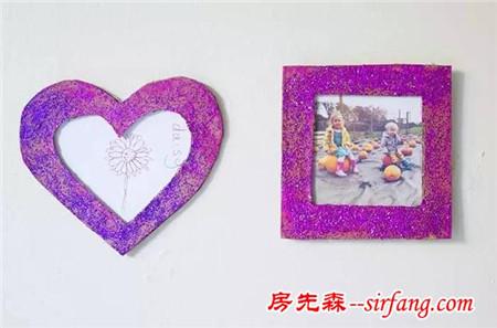 幼儿园亲子手工之相框制作,用纸胶带,树枝,纸皮就能做出美美的