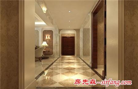 金色花纹沙发配上欧式吊灯,180平装修美极了