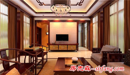 济南御龙湾四合院别墅280平新中式风格装修效果图