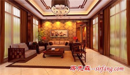 济南御龙湾四合院别墅280平新中式风格装修效果图__房