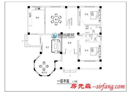 带堂屋三层农村别墅设计图,框架结构造价40万