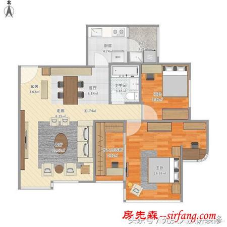柔美优雅 106平米美式古典风格 半包施工6.3万