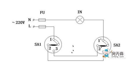 其工作原理是为了实现两地(不同地点)同时同步控制一处电灯.