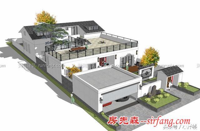 现代中式乡村风格带阁楼庭院别墅,别有一番滋味