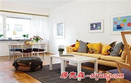 一室一厅简约装修效果图 北欧风色彩很赞