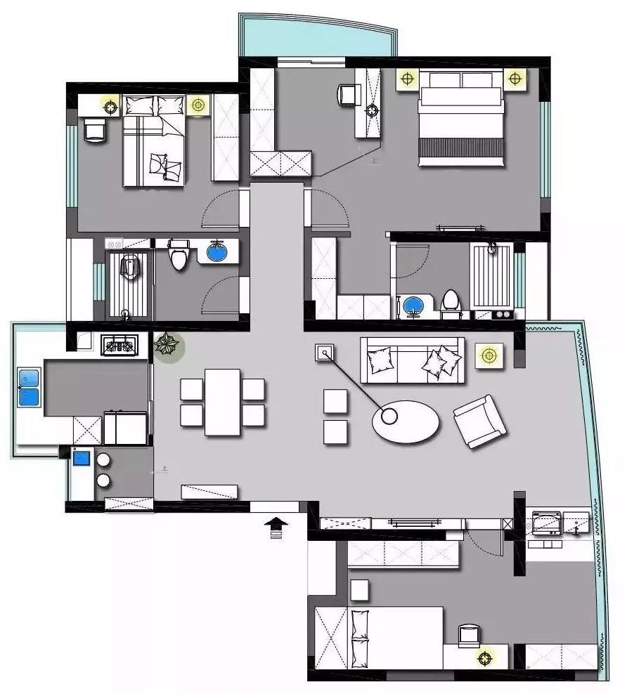 120方三居室现代风