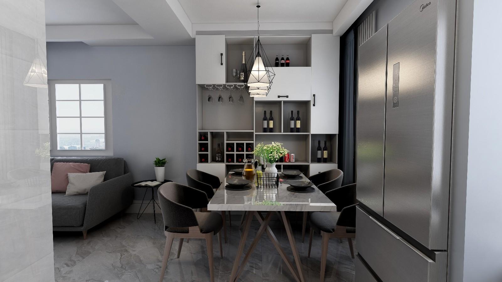三里家园65㎡两房欧式效果图