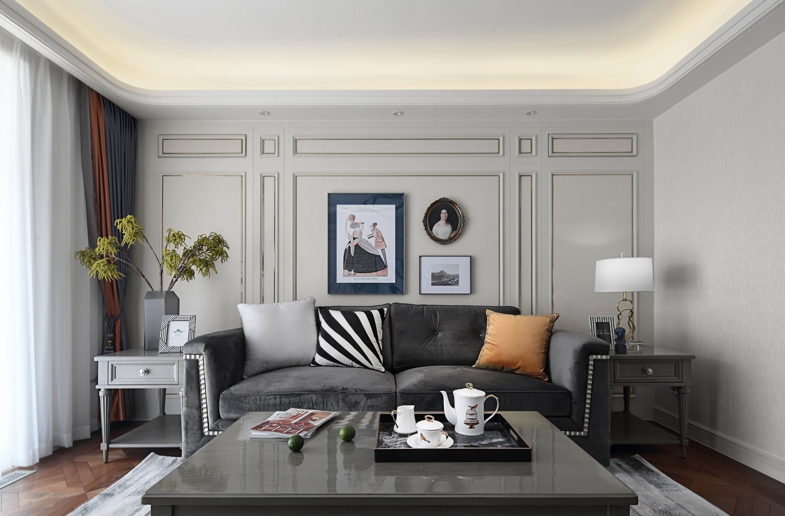美式与轻奢的结合,展现了家的温馨与幸福感三居室