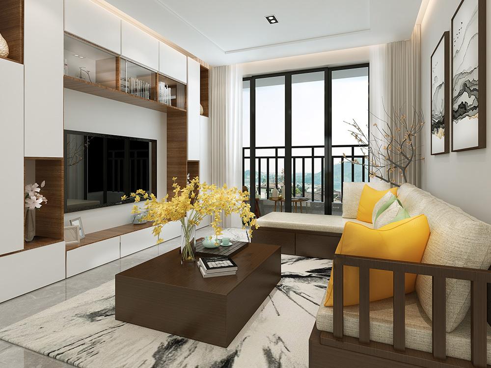 鸿港华庭110平米四居室新中式风格