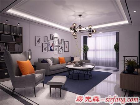 118㎡现代简约风格装修,暖橙和冷灰色调搭配