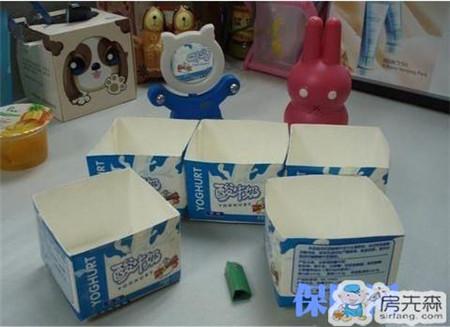 牛奶盒变身收纳盒 有创意还很实用