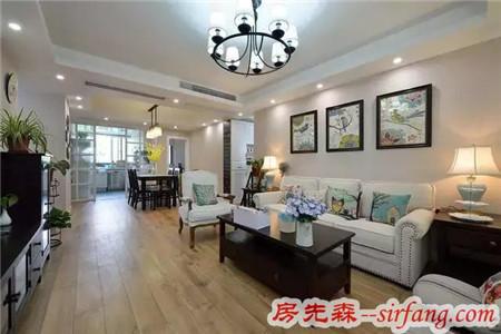 120㎡美式三居装修,客厅的软装搭配很有格调